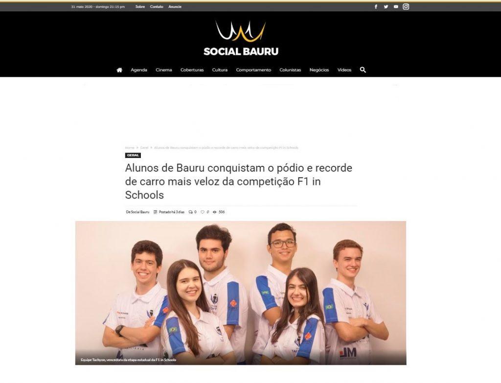 Alunos de Bauru conquistam o pódio e recorde de carro mais veloz da competição F1 in Schools