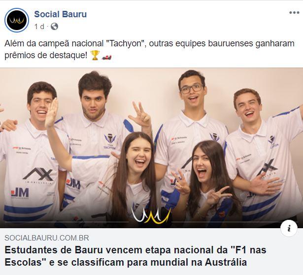 """Bauruenses vencem etapa nacional da """"F1 nas Escolas"""" e se classificam para mundial na Austrália"""